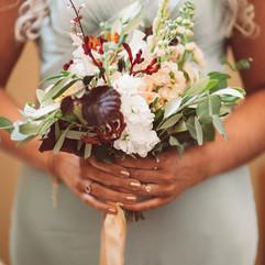 Bridesmaids Bouquet, minty green dresses, peachy colour palette