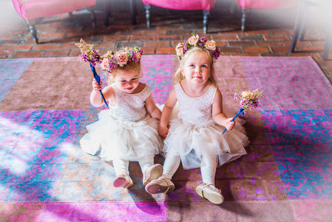 Flower Girl Floral Crowns and matching Floral Wand