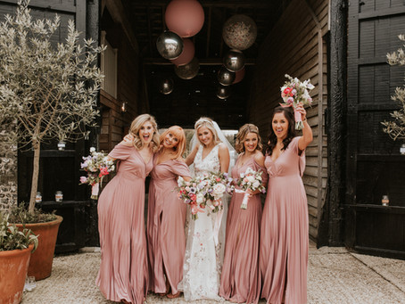 Spring Blush and Pastel Wedding Flowers in West Sussex Barn