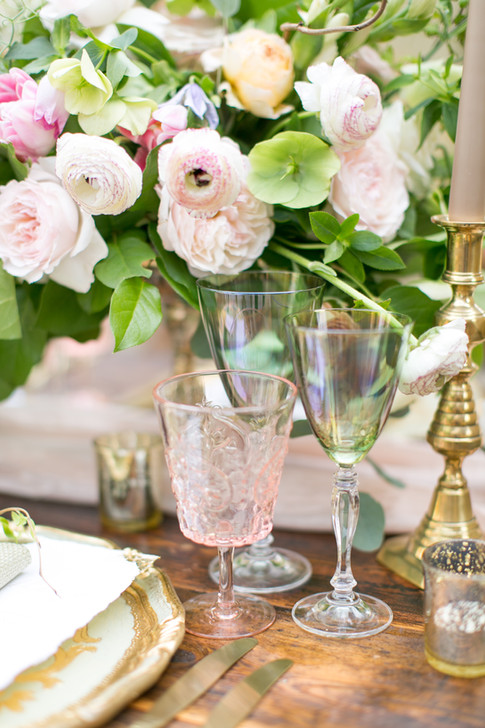 Crystal Wedding Glasses and Pale Pink Peonies