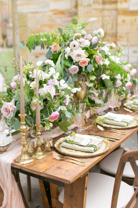 Wedding Foliage Table Runner with Pale Pink Roses and Pink Ranunculus