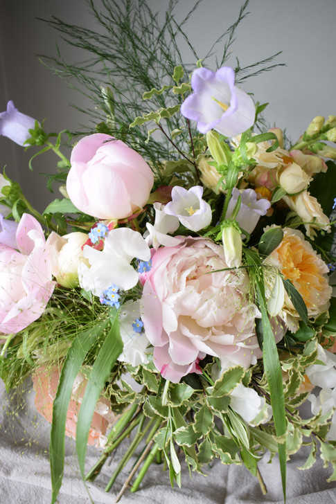 Wildflower Bouquet with Pink Peonies and Yellow Garden Roses