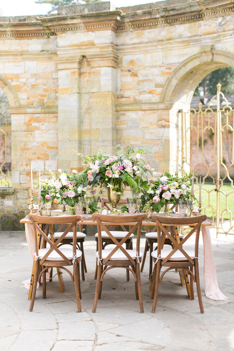 Wooden Crossback Chairs and Wedding Foliage Table Runner