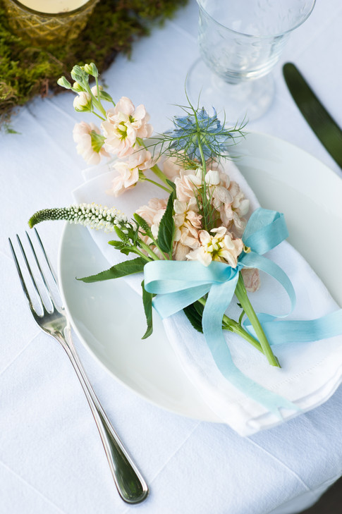 Peach Flower Place Settings with Turquoise Ribbon