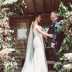 Wedding ceremony floral decor, pampas grass wedding, burgundy and blush  wedding