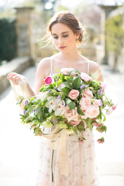 Fine Art Wedding Bouquet with Pale Pink Roses