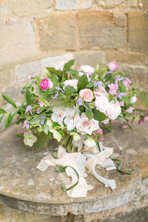 Spring Wildflower Bouquet with Pale Pink Roses and Pink Ranunculus