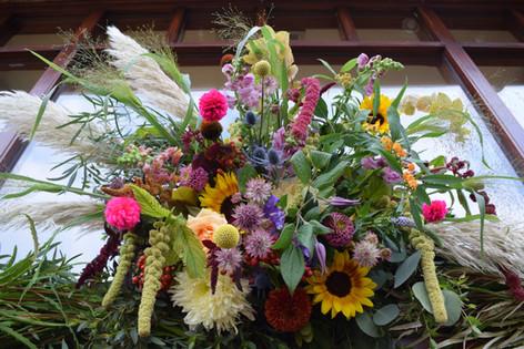 Green Amaranthus and Yellow Sunflower Outdoor Wedding Decoration