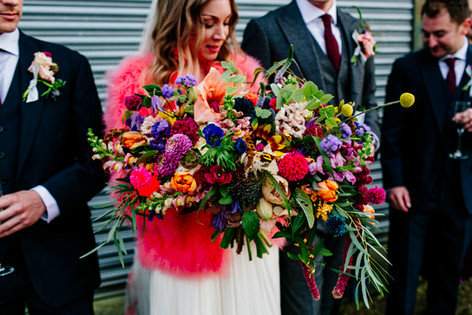 Beautiful Vibrant Wildflower Bouquet with Pink Amaranthus and Ranunculus Flowers