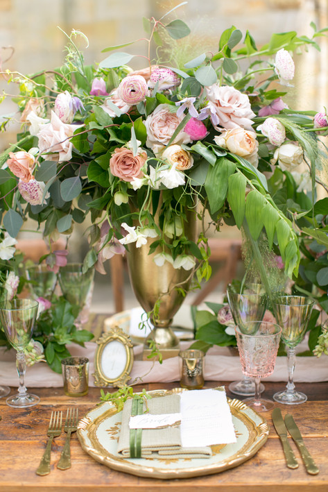 Spring Wildflower Foliage Centrepiece with Pale Pink Roses in Wedding Urn