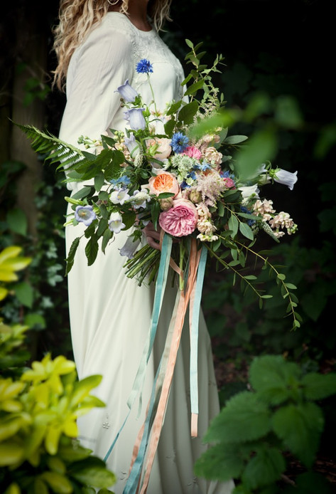 Pink and Orange Wildflower Bouquet with Long Ribbons