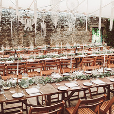 Boho wedding outdoor table setting