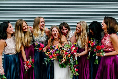 Vibrant Wildflowers and Jewel Tone Bridesmaids Dresses