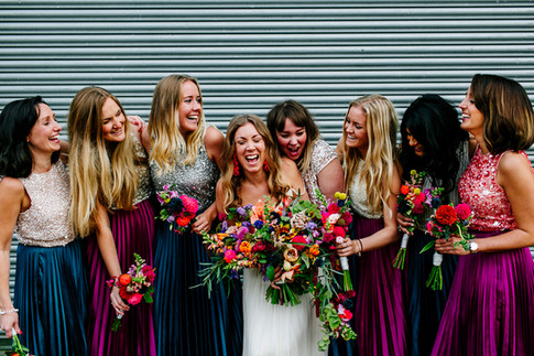 Vibrant Wildflowers and Jewel Tone Bridesmaids Dresses
