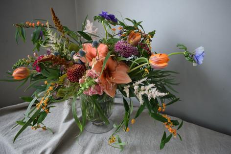 Orange Tulips and Orange Amaryllis Flower Wedding Wildflower Centrepiece