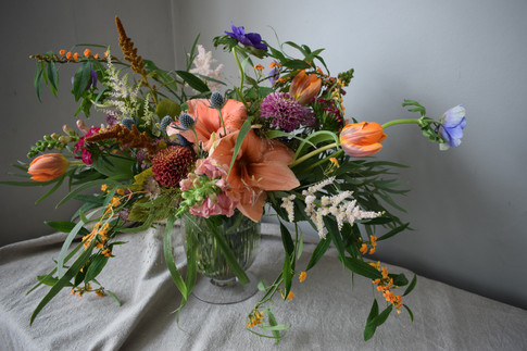 Orange Tulips and Orange Amaryllis Flower Wedding Wildflower Centrepiece