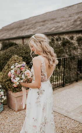 Bride with spring bouquet