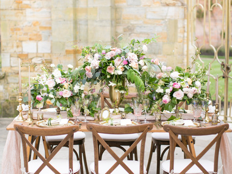 Modern Romantic  Wedding Flowers at Hever Castle - Kent