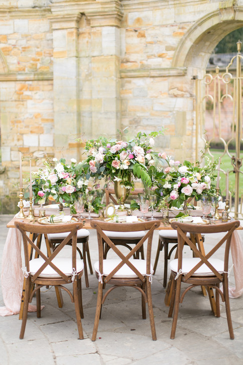 Wedding Foliage Table Runner and Wooden Crossback Chairs