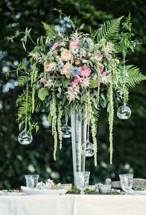 Large Wildflower Centrepiece with Hanging Glass Baubles For Tealights