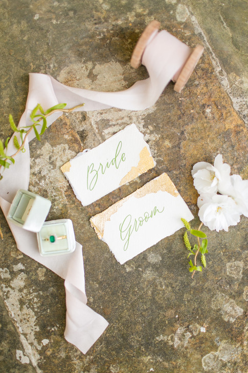Calligraphy Wedding Place Cards for Bride and Groom with Pale Pink Ribbon