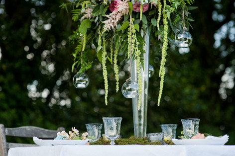 Green Wildflower Centrepiece with Hanging Glass Bauble Tealight Holders