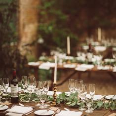 Bignor Park Wedding Florist, brass candle holdres, eucalyptus wedding