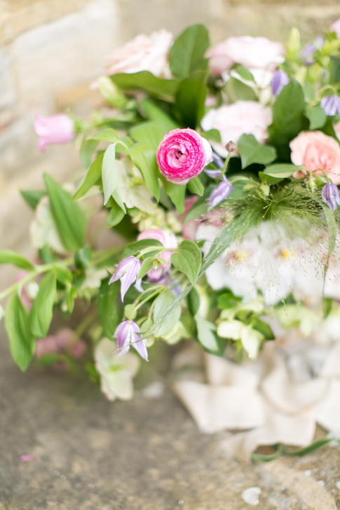 Close up of Pink Ranunculus in Spring Wildflower Bouquet