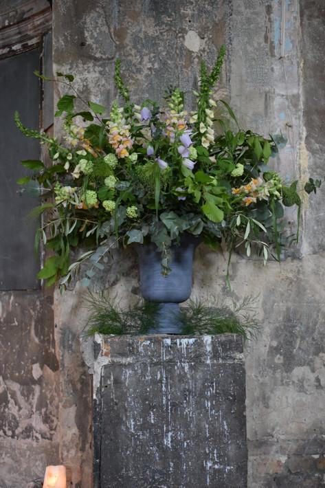 Wildflower Foliage with Sweet Pea Flowers in Wedding Urn