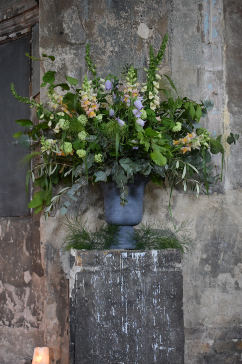 Wildflower Foliage with Sweet Pea Flowers in Wedding Urn