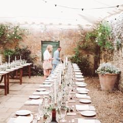 Boho wedding at Bignor Park, Greenry wedding table centres