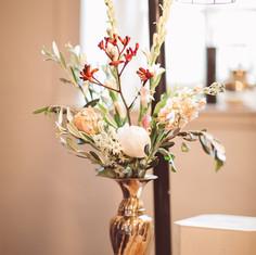Brass vase, boho wedding , peachy roses