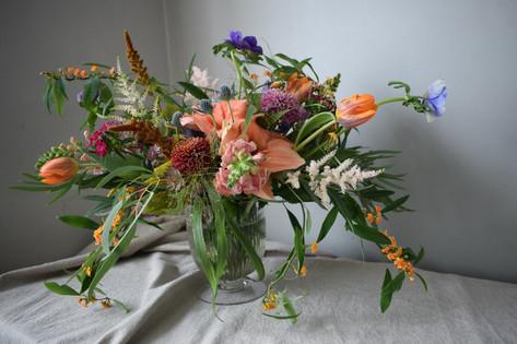 Orange Amaryllis Flower and Orange Tulips Wedding Wildflower Centrepiece
