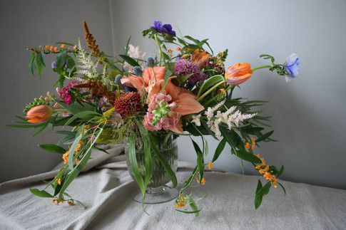 Orange Amaryllis Flower and Orange Tulips Wedding Wildflower Centrepiece