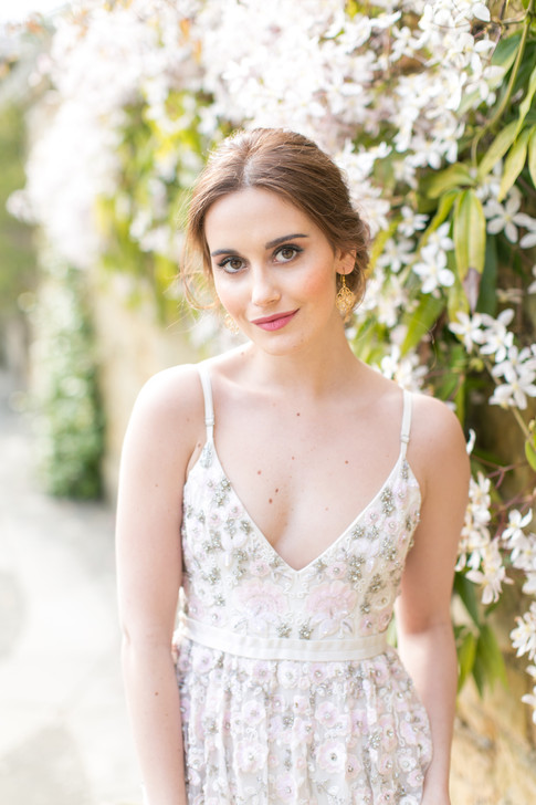 Romantic Floral Wedding Dress and Natural Wedding Makeup For Brown Eyes