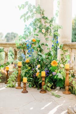 wedding ceremony floral backdrop