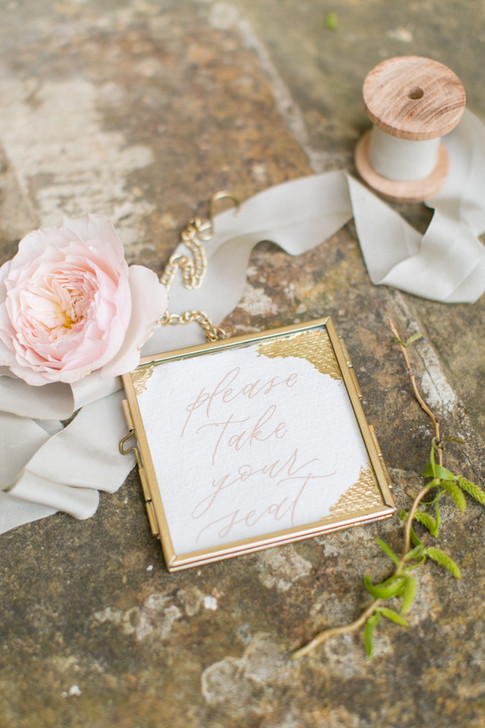 Gold Calligraphy Wedding Decoration with Grey Ribbon