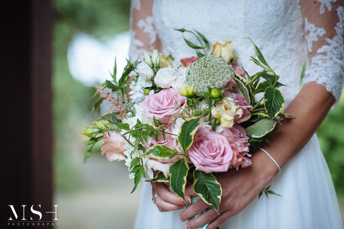 Small Hand Tied Wedding Bouquet with Pink Roses