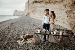 Beach wedding table arrangement,