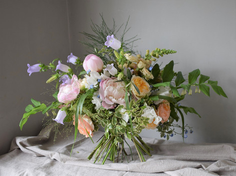 Wildflower Bouquet with Pink Peonies and Sweet Pea Flowers
