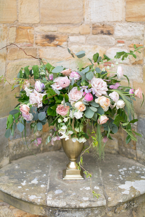Spring Wildflower Foliage Centrepiece with  Pink Roses in Wedding Urn