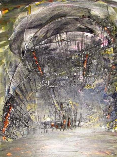 Orage et pluie - Composition mixte - 61x46 cm