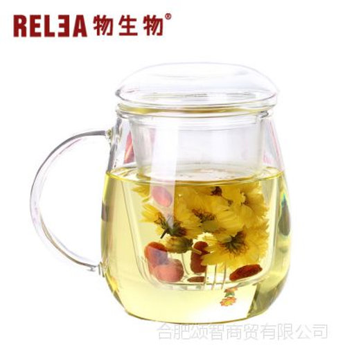 Glass Tea Cup  with Infuser Filter