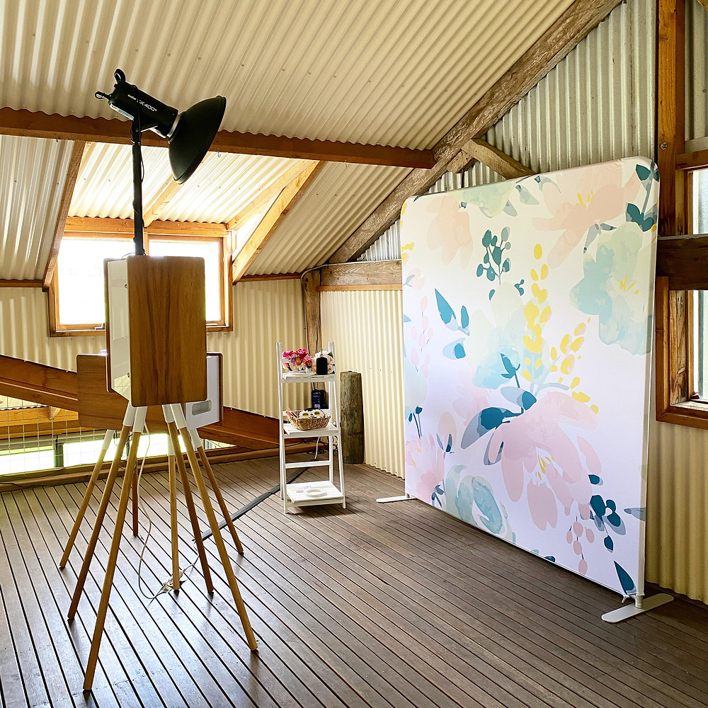 a photo booth set up at longview winery wedding in the adelaide hills