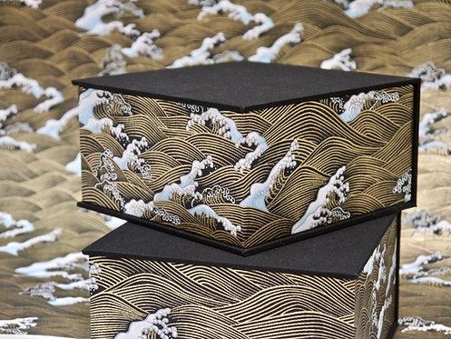 Coffret carré - Vagues Hokusai - noir