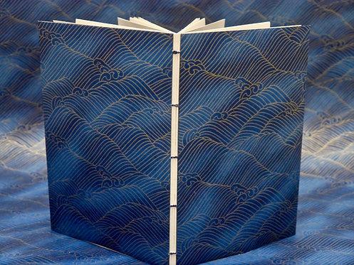 Carnet copte - Vagues aérées - bleu dégradé
