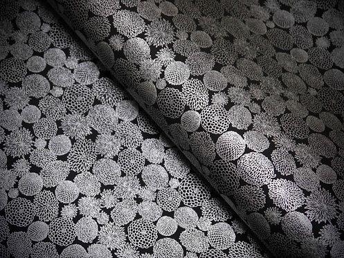 Fleurs rondes - argent / noir - petits motifs