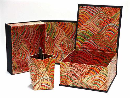Coffret carré - Vagues polychromes - dominante rouge