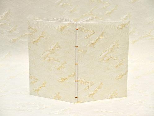 Carnet copte - Vagues Hokusai - blanc