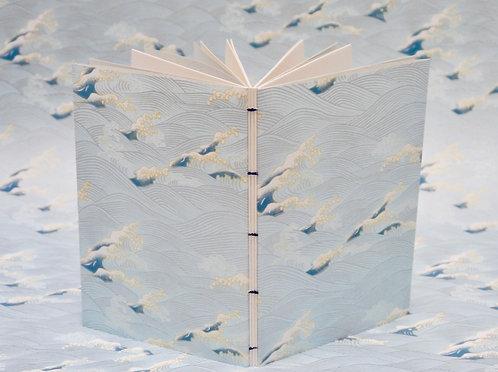 Carnet copte - Vagues Hokusai - bleu clair